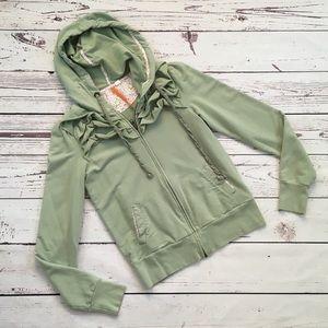 Saturday Sunday jacket green size small ruffle